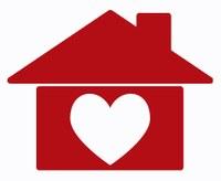 Tekening van een rode woning met een hart